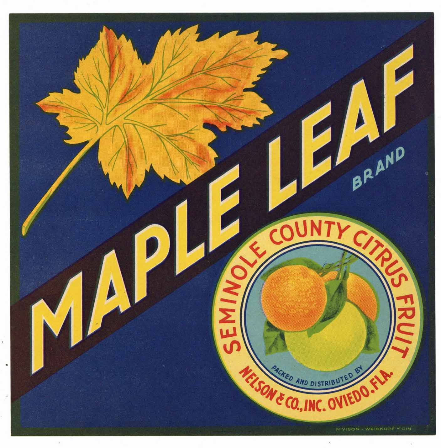 Maple Leaf Brand Vintage Oviedo Florida Citrus Crate Label, S