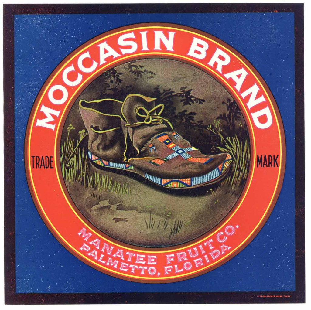 Moccasin Brand Vintage Palmetoo Florida Citrus Crate Label, L