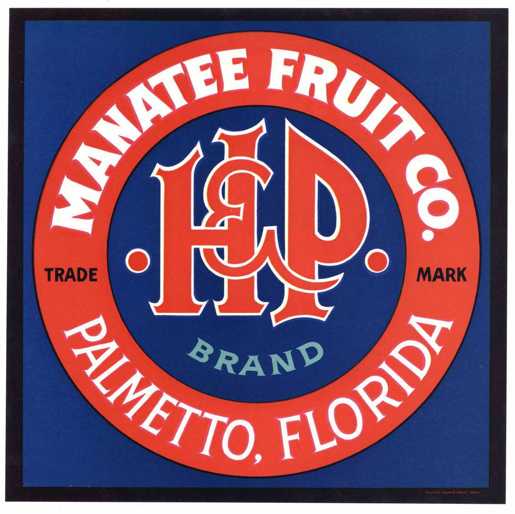 H & P Brand Vintage Palmetto Florida Citrus Crate Label