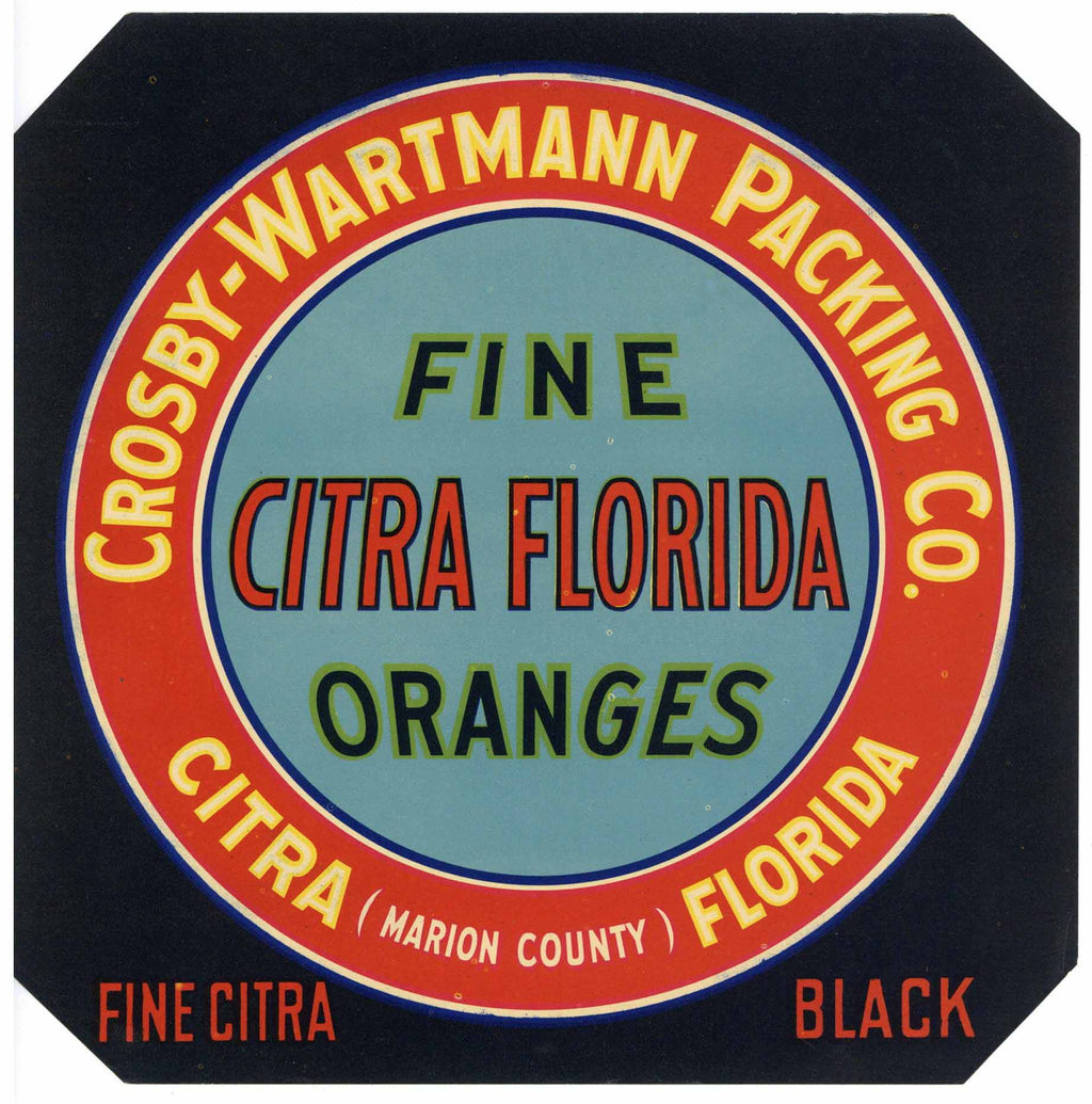 Citra Florida Brand Vintage Florida Citrus Crate Label, black