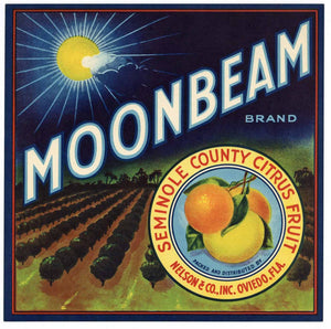 Moonbeam Brand Vintage Oviedo Florida Citrus Crate Label, L
