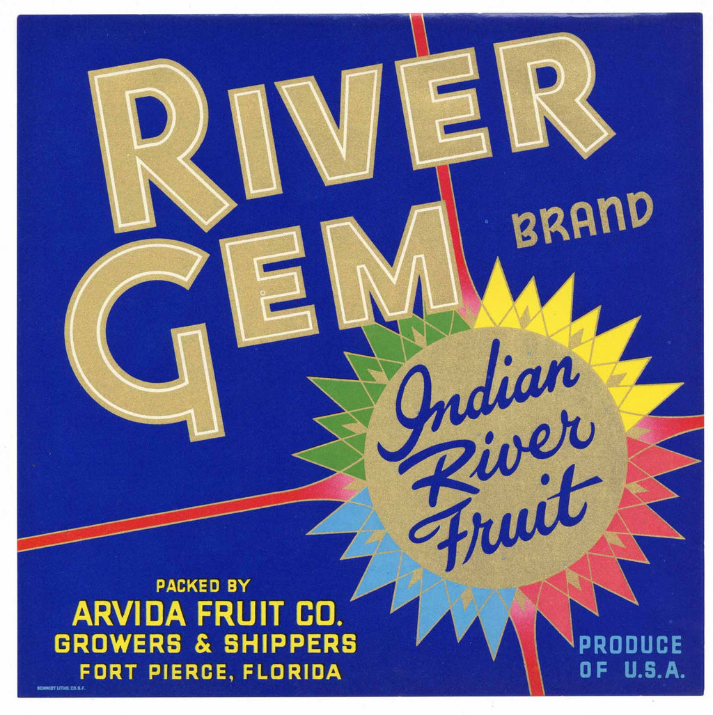 River Gem Brand Vintage Fort Pierce Florida Citrus Crate Label
