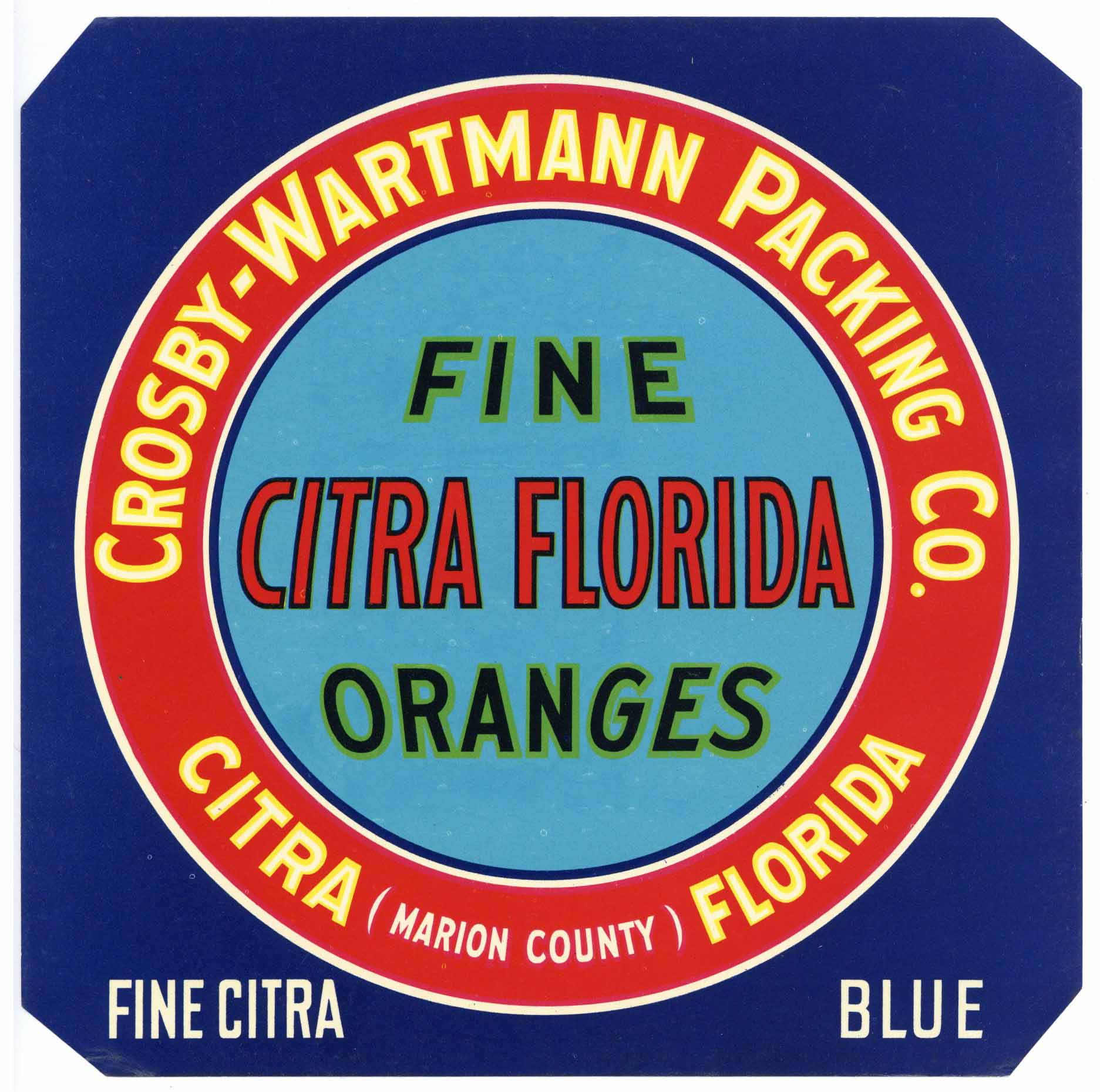 Citra Florida Brand Vintage Florida Citrus Crate Label, blue