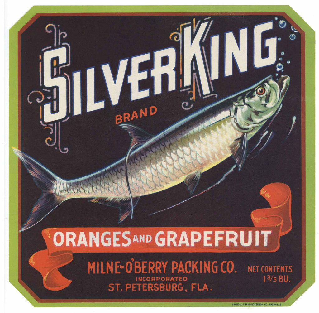 Silver King Brand Vintage St. Peterburg Florida Citrus Crate Label
