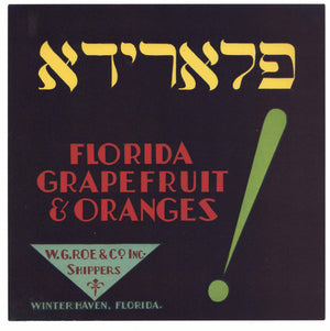 Florida Grapefruit & Oranges Brand Vintage Winter Haven Florida Citrus Crate Label
