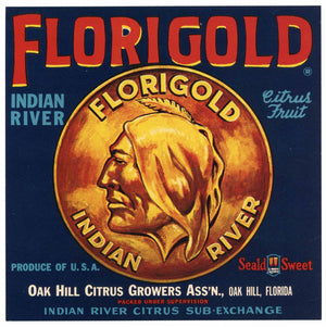 Florigold Brand Vintage Oak Hill Florida Citrus Crate Label, 9x9