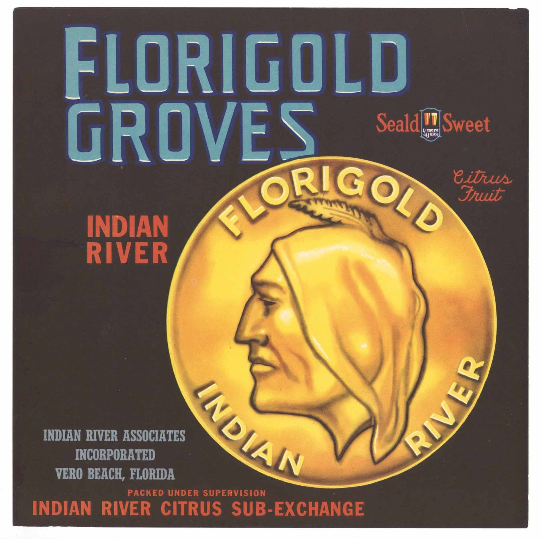 Florigold Brand Vintage Indian River Florida Citrus Crate Label, 9x9