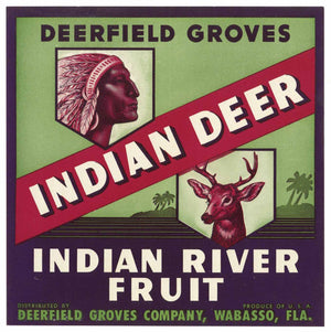 Indian Deer Brand Vintage Wabasso Florida Citrus Crate Label, o