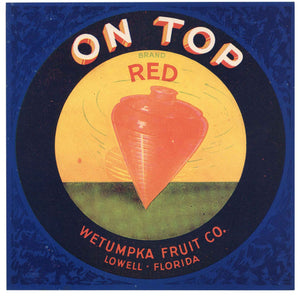 On Top Brand Vintage Lowell Florida Citrus Crate Label, red