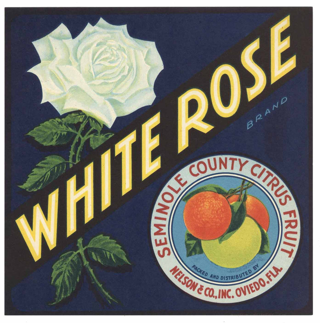 White Rose Brand Vintage Oviedo Florida Citrus Crate Label, s