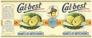 Cal-Best Brand Vintage Salinas Artichoke Can Label, holes