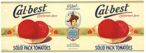 Cal-Best Brand Vintage Salinas Isleton Tomato Can Label, holes