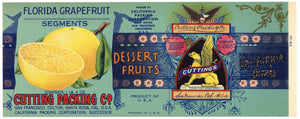 Cutting Packing Co Brand Vintage  Grapefruit Can Label