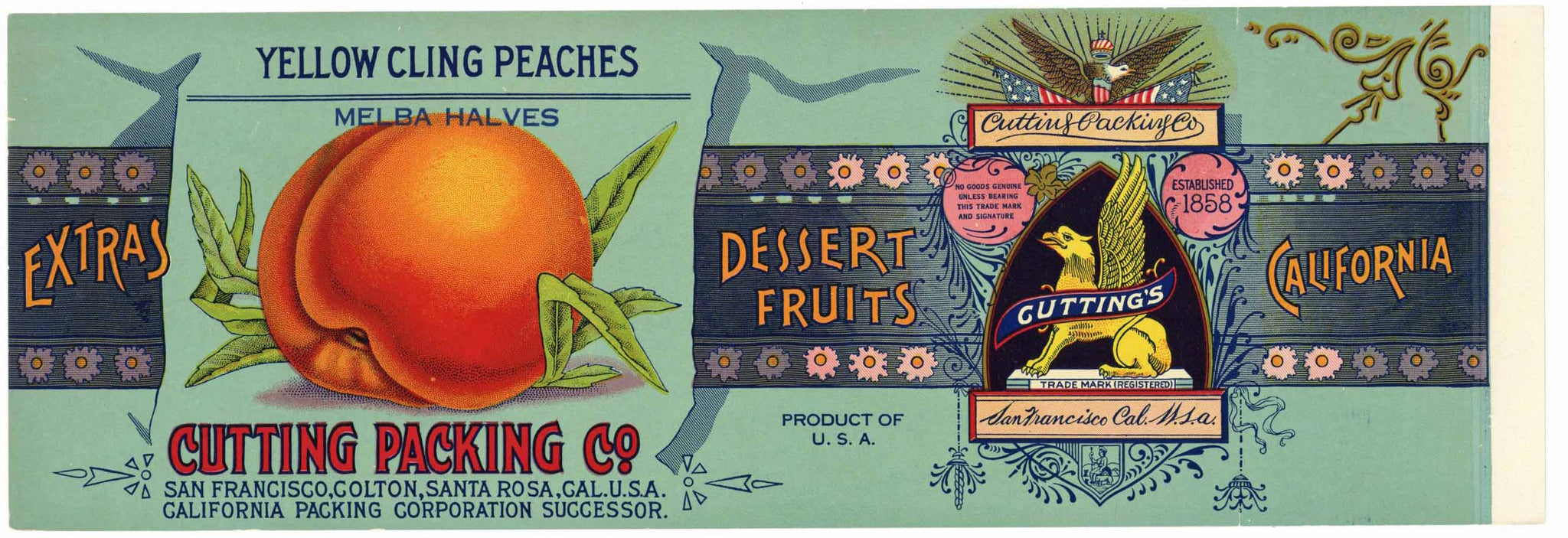 Cutting Packing Co Brand Vintage  Peach Can Label