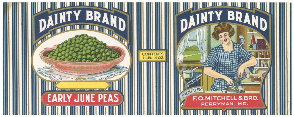 Dainty Brand Vintage Perryman Maryland Peas Can Label
