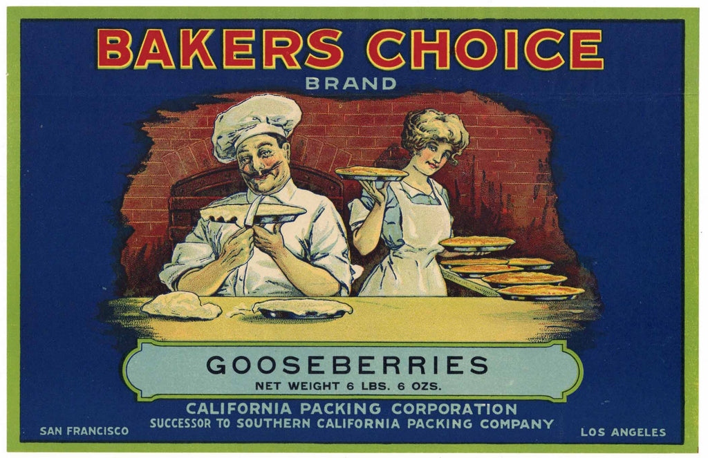 Bakers Choice Brand Vintage Gooseberries Can Label