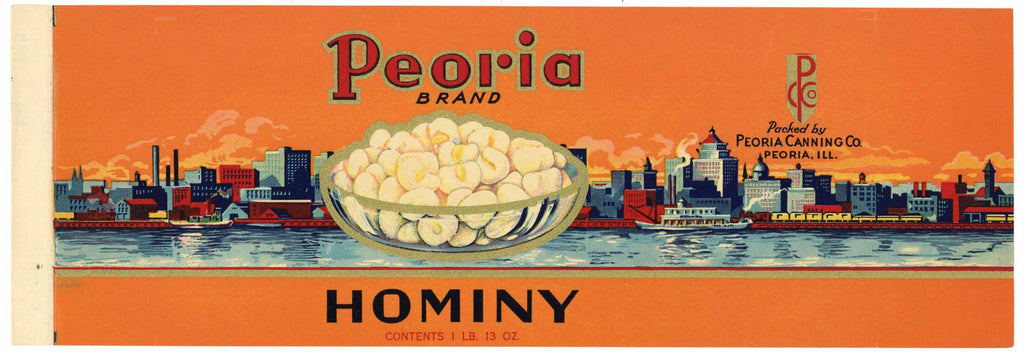 Peoria Brand Vintage Illinois Hominy Can Label