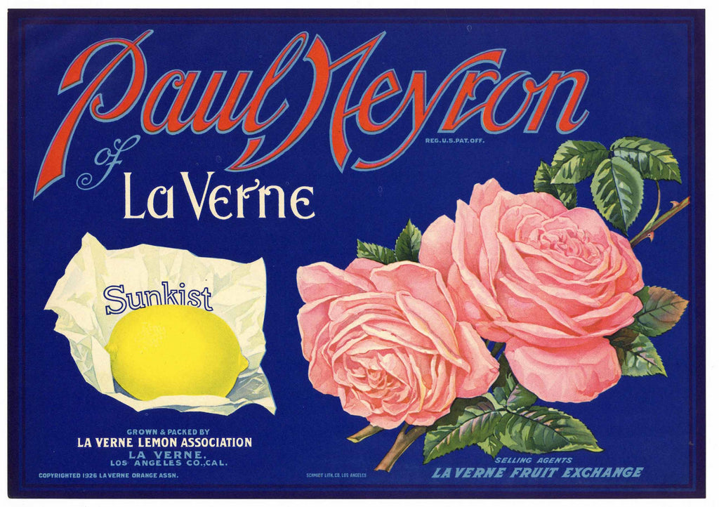 Paul Neyron Brand Vintage La Verne Lemon Crate Label