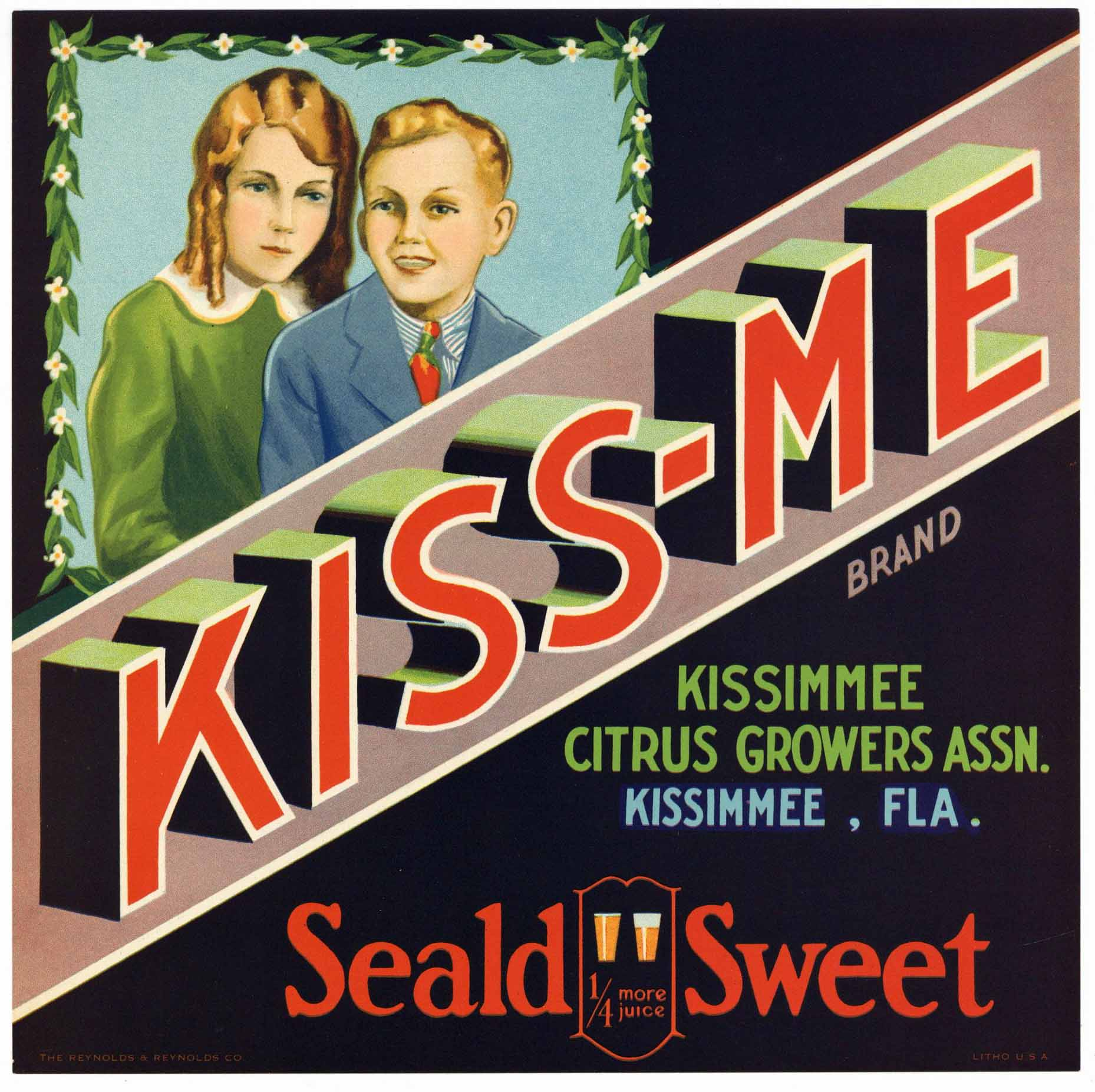 Kiss-Me Brand Vintage Kissimmee Florida Citrus Crate Label, L