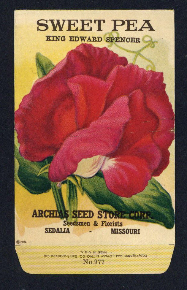 Sweet Pea Antique Archias Seed Packet, King Edward