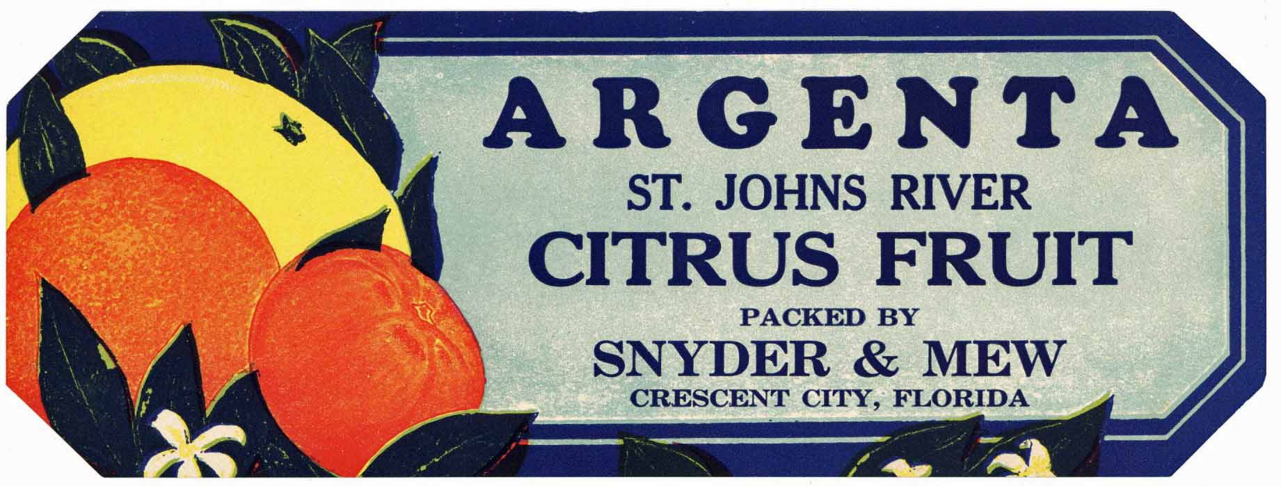 Argenta Brand Vintage Crescent City Florida Citrus Crate Label