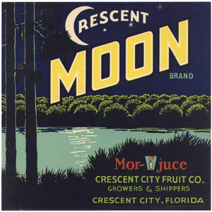 Crescent Moon Brand Vintage Crescent City Florida Citrus Crate Label, L