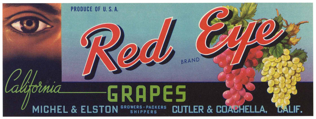 Red Eye Brand Vintage Coachella Grape Crate Label
