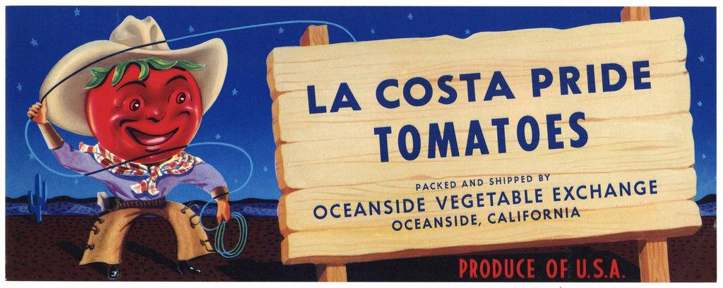La Costa Pride Brand Vintage Oceanside California Tomato Crate Label