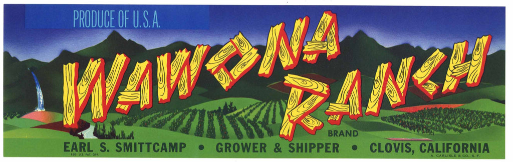 Wawona Ranch Brand Vintage Clovis Grape Crate Label