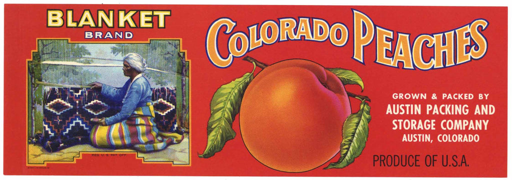 Blanket Brand Vintage Austin Colorado Peach Crate Label