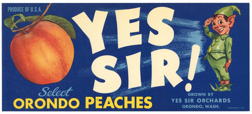 Yes Sir! Brand Vintage Orondo Washington Peach Crate Label