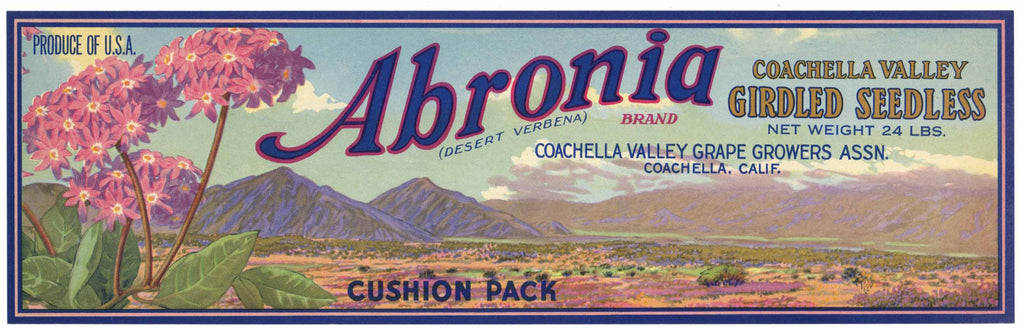 Abronia Brand Vintage Coachella Valley Grape Crate Label