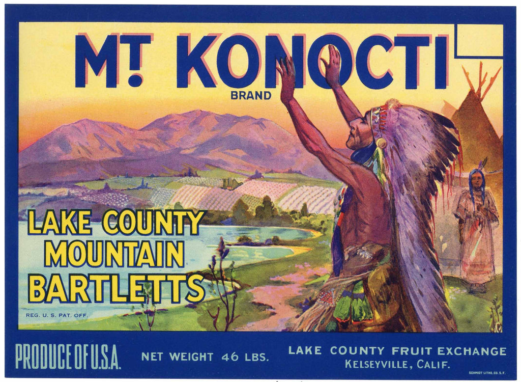 Mt. Konocti Brand Vintage Lake County Pear Crate Label, 46 lbs