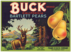 Buck Brand Vintage Pear Crate Label