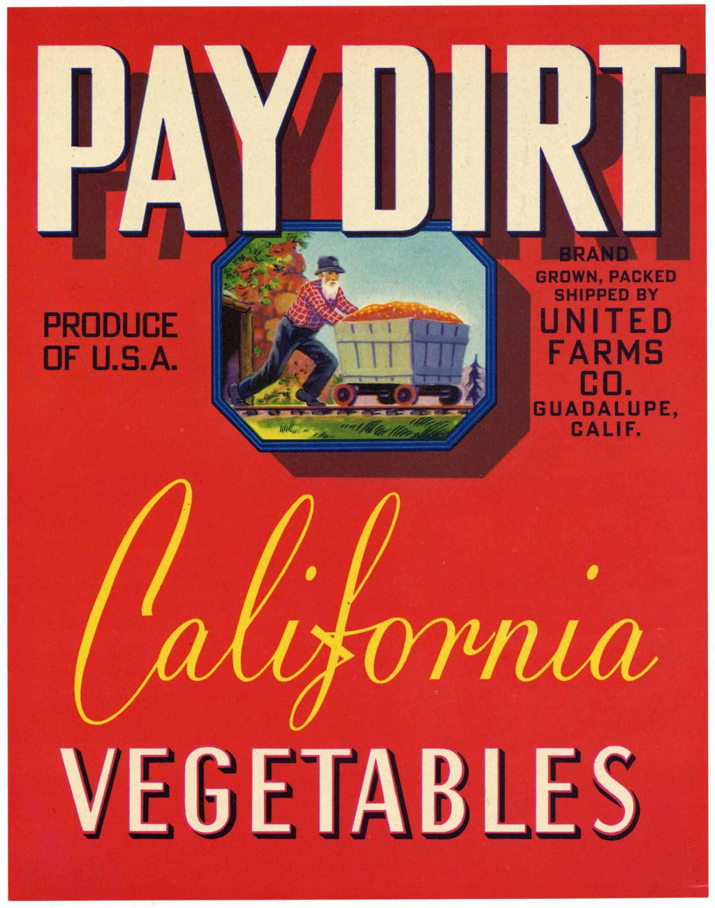 Pay Dirt Brand Guadalupe California Vegetable Crate Label