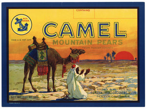 Camel Brand Vintage Penryn Fruit Growers Placer County Pear Crate Label