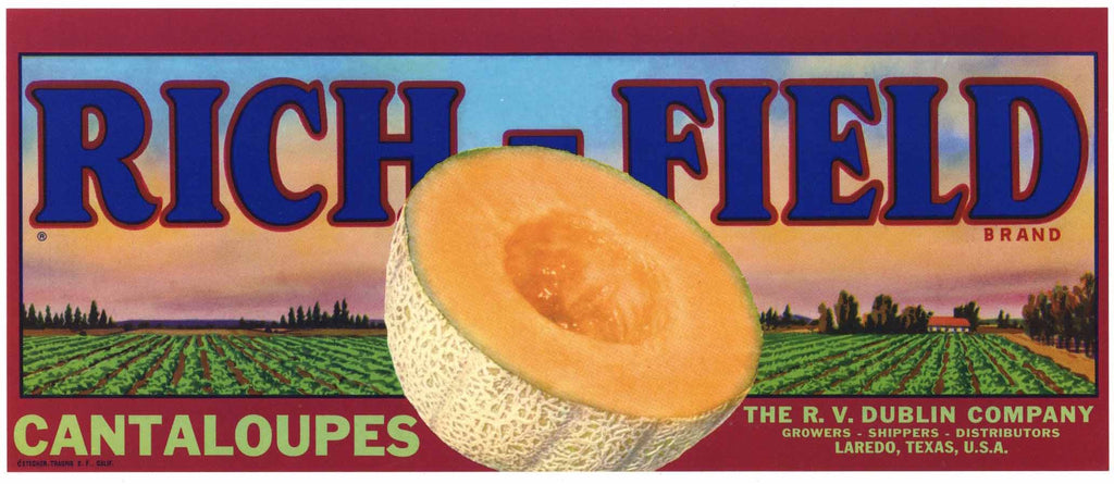 Rich-Field Brand Vintage Laredo Texas Melon Crate Label