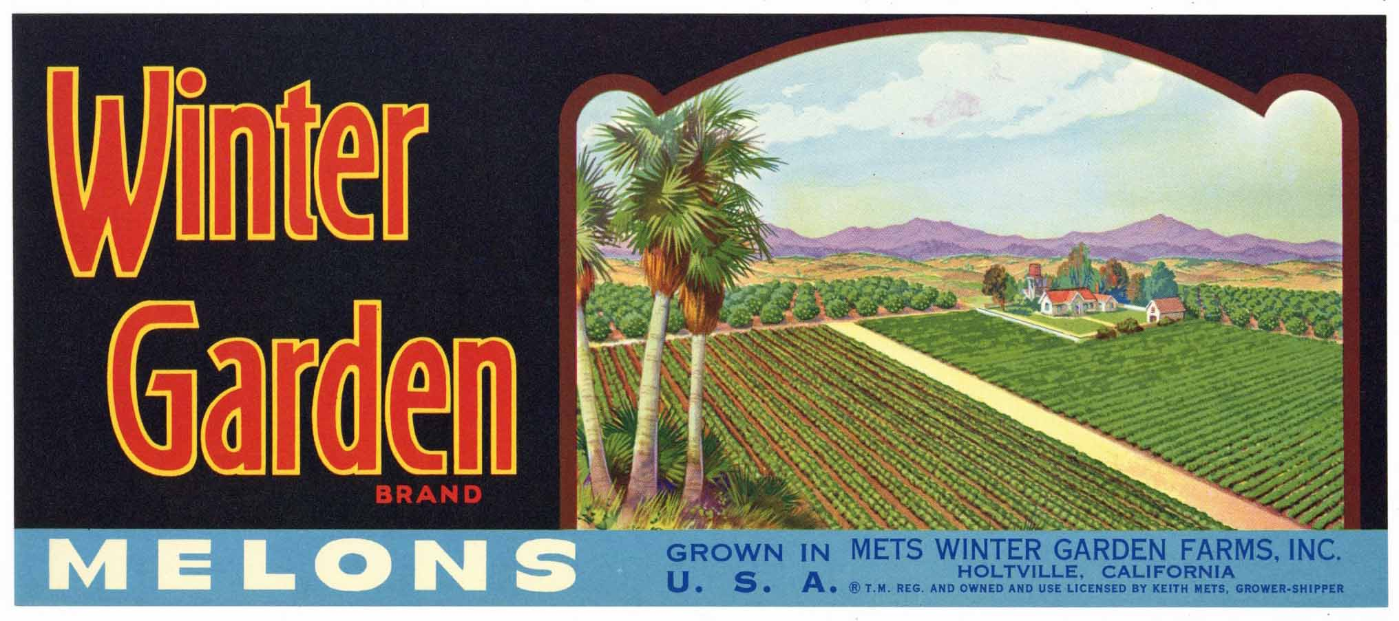 Winter Garden Brand Vintage Holtville California Melon Crate Label