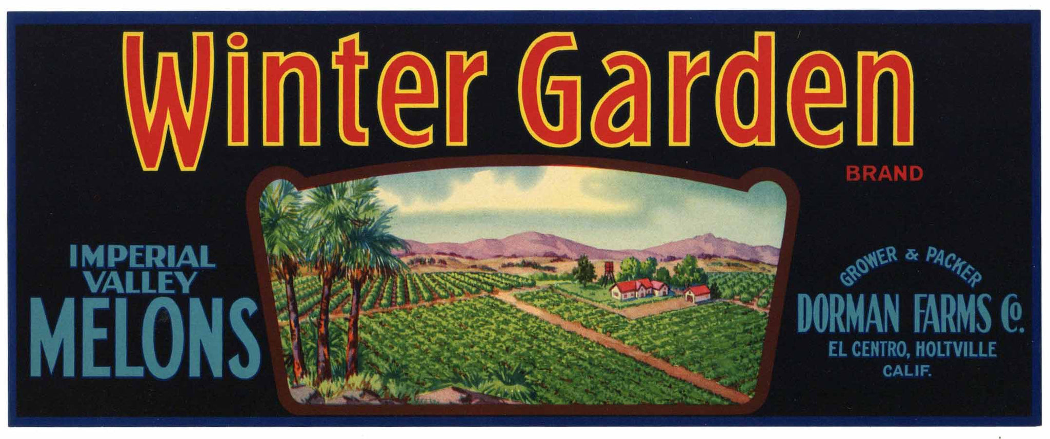 Winter Garden Brand Vintage Imperial Valley California Melon Crate Label