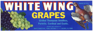 White Wing Brand Vintage Yuma Arizona Grape Crate Label