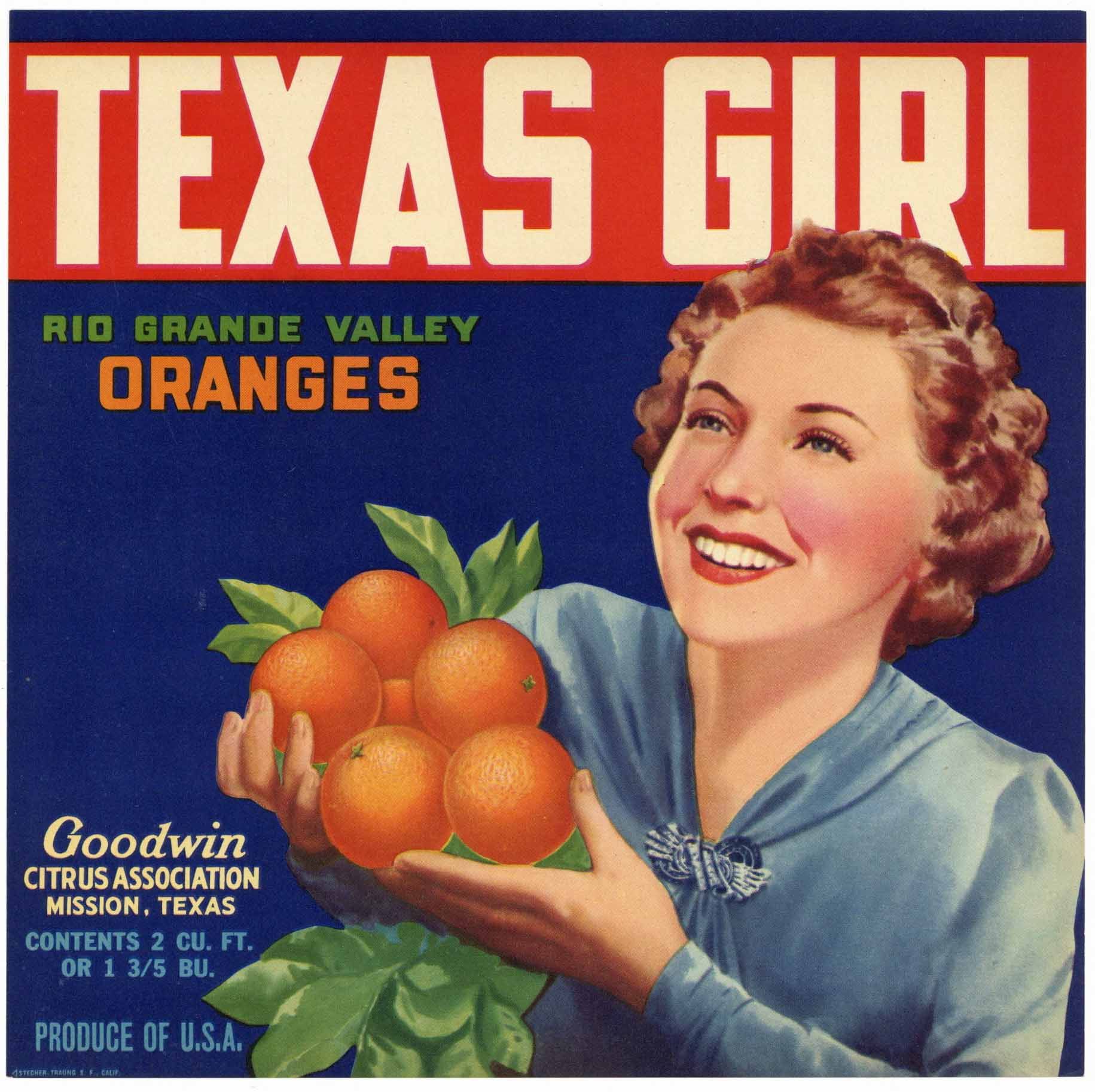 Texas Girl Brand Vintage Mission Texas Orange Crate Label