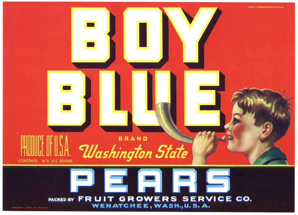 Boy Blue Brand Vintage Wenatchee Washington Pear Crate Label, red