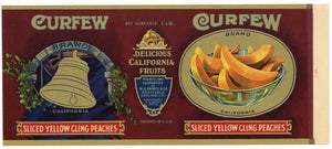 Curfew Brand Vintage Oakland Fruitvale Sliced Peaches Can Label