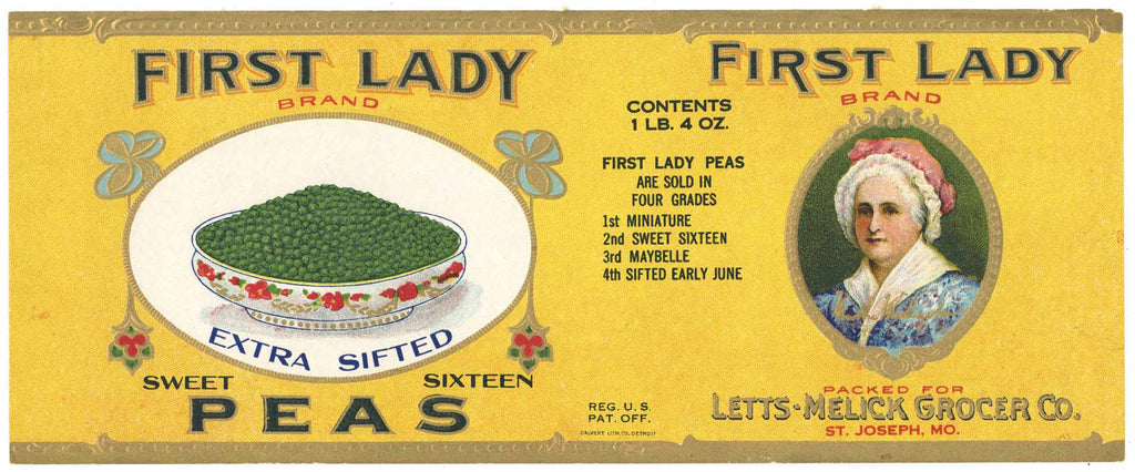 First Lady Brand Vintage St. Joseph Missouri Peas Can Label