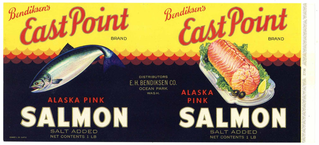 East Point Brand Vintage Ocean Park Washington Salmon Can Label