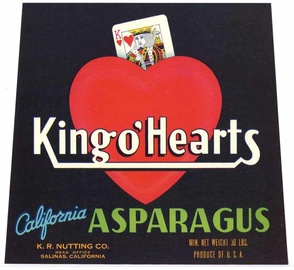 King O' Hearts Brand Vintage Salinas Asparagus Crate Label