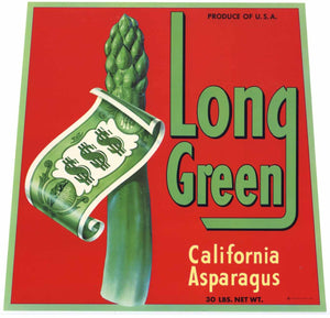 LONG GREEN Brand Vintage Asparagus Crate Label (AS032)