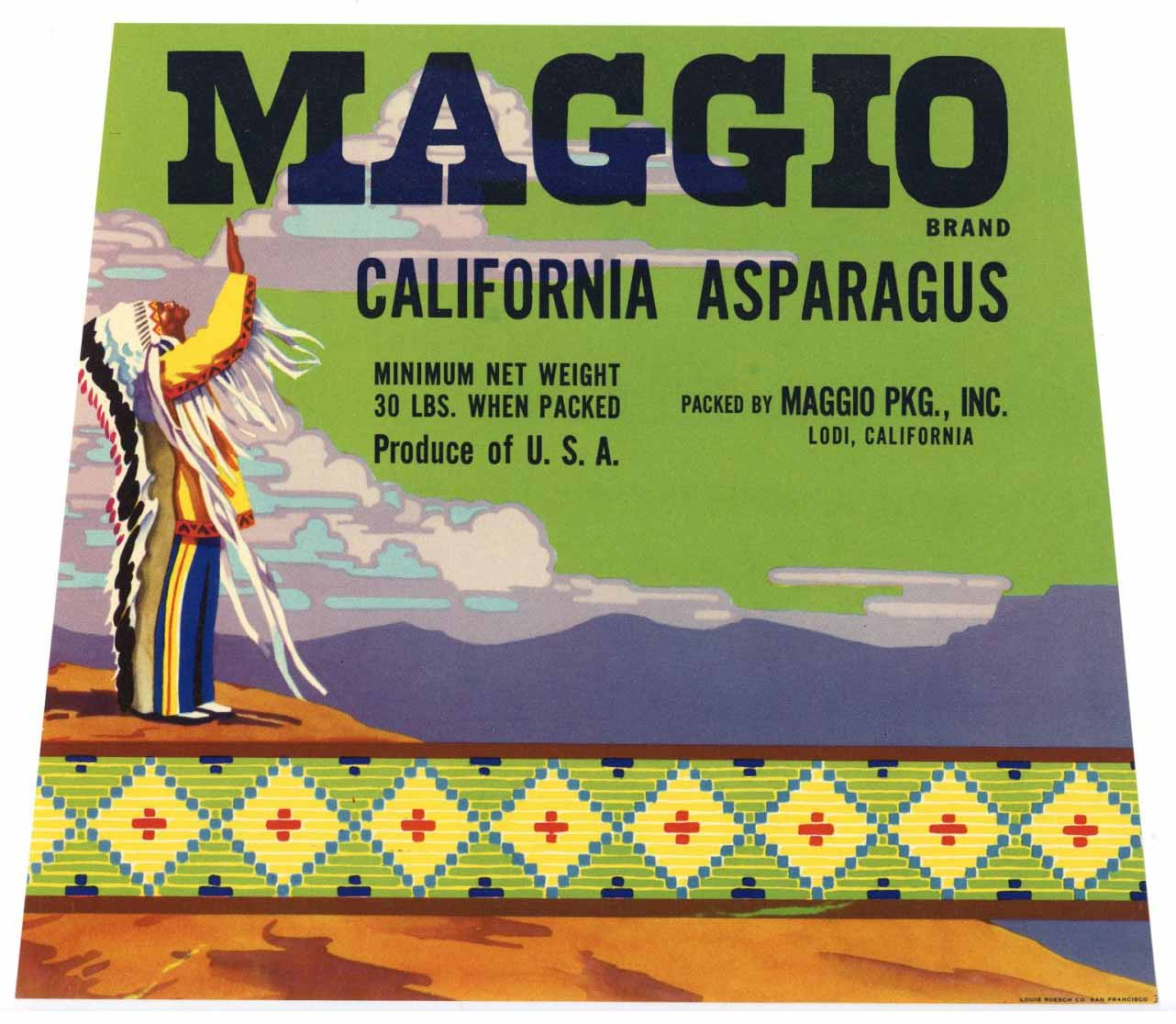 MAGGIO Brand Vintage Asparagus Crate Label (AS038)