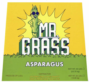 MR. GRASS Brand Vintage Asparagus Crate Label (AS036)