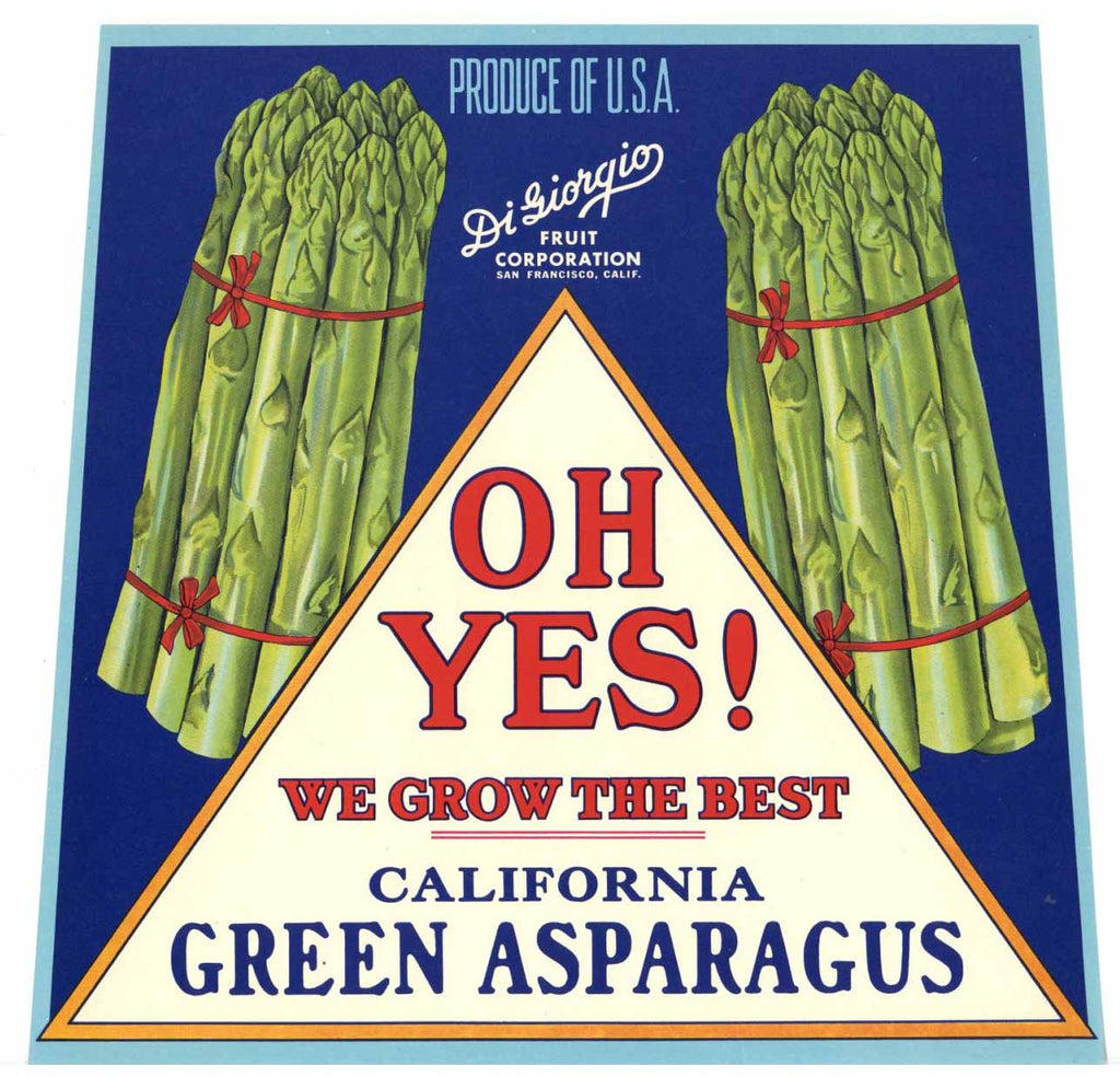 Oh Yes! Brand Vintage Asparagus Crate Label
